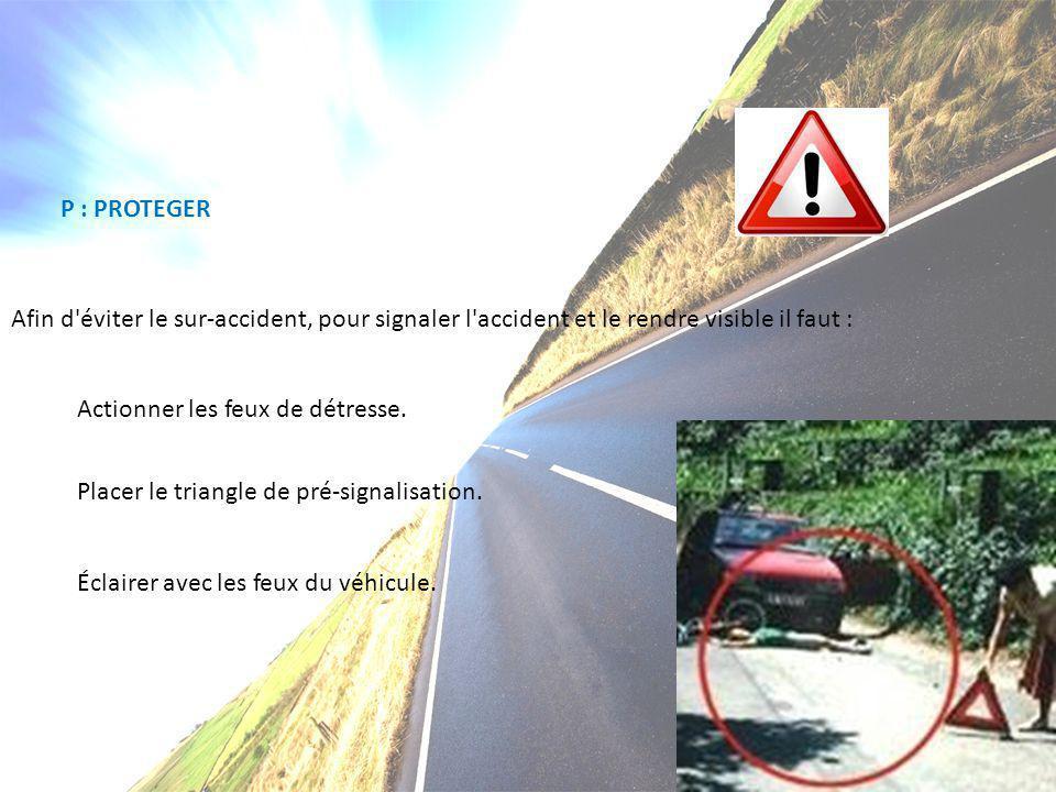 E S( F V D – H V - V P - P : PROTEGER Afin d'éviter le sur-accident, pour signaler l'accident et le rendre visible il faut : Actionner les feux de dét