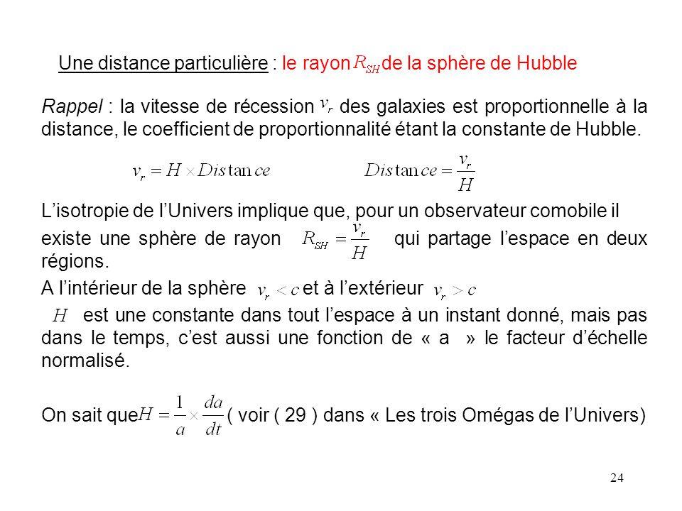 24 Une distance particulière : le rayon de la sphère de Hubble Rappel : la vitesse de récession des galaxies est proportionnelle à la distance, le coefficient de proportionnalité étant la constante de Hubble.