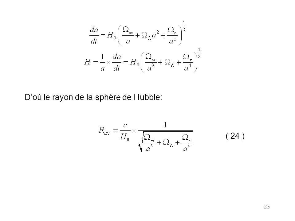 25 D'où le rayon de la sphère de Hubble: ( 24 )