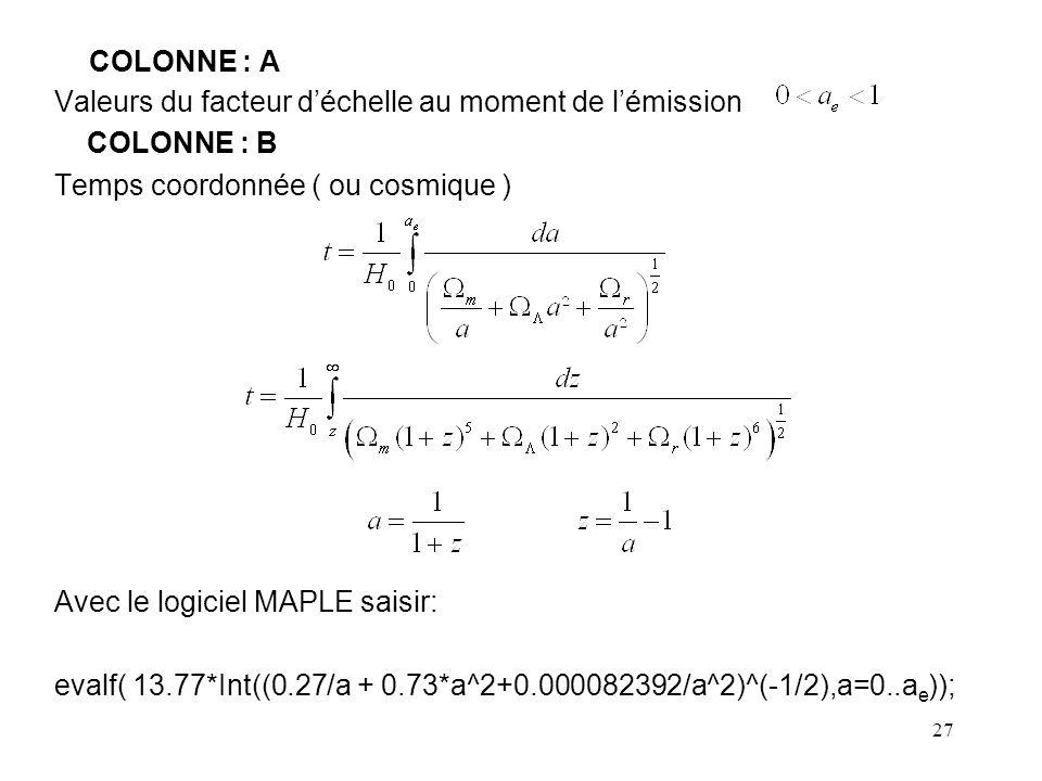 27 COLONNE : A Valeurs du facteur d'échelle au moment de l'émission COLONNE : B Temps coordonnée ( ou cosmique ) Avec le logiciel MAPLE saisir: evalf( 13.77*Int((0.27/a + 0.73*a^2+0.000082392/a^2)^(-1/2),a=0..a e ));