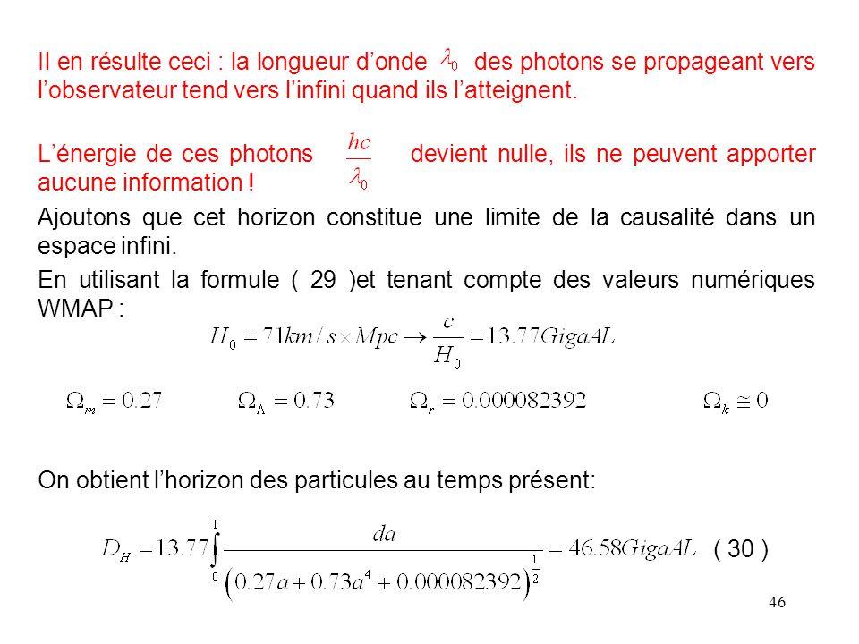 46 Il en résulte ceci : la longueur d'onde des photons se propageant vers l'observateur tend vers l'infini quand ils l'atteignent.