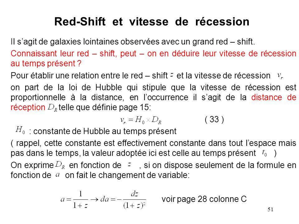 51 Red-Shift et vitesse de récession Il s'agit de galaxies lointaines observées avec un grand red – shift.