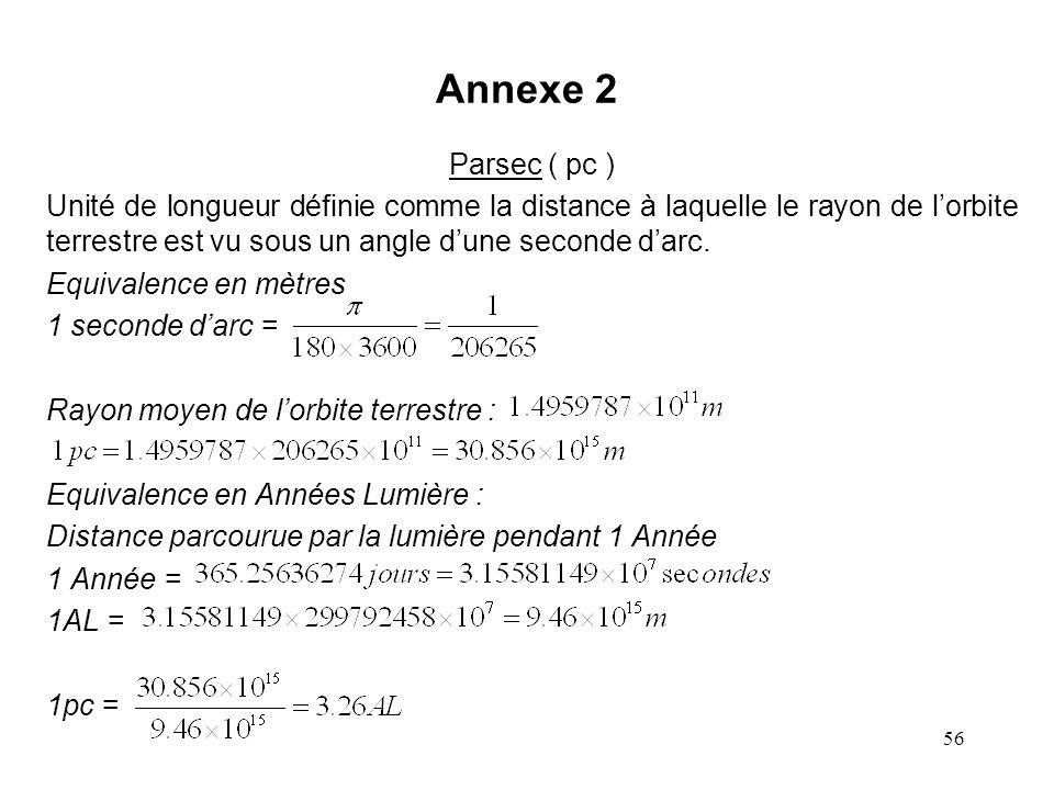 56 Annexe 2 Parsec ( pc ) Unité de longueur définie comme la distance à laquelle le rayon de l'orbite terrestre est vu sous un angle d'une seconde d'arc.