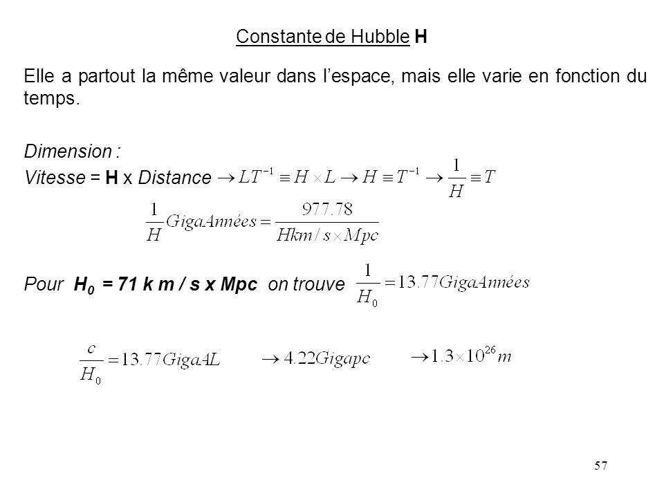 57 Constante de Hubble H Elle a partout la même valeur dans l'espace, mais elle varie en fonction du temps.