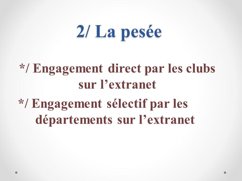2/ La pesée */ Engagement direct par les clubs sur l'extranet */ Engagement sélectif par les départements sur l'extranet