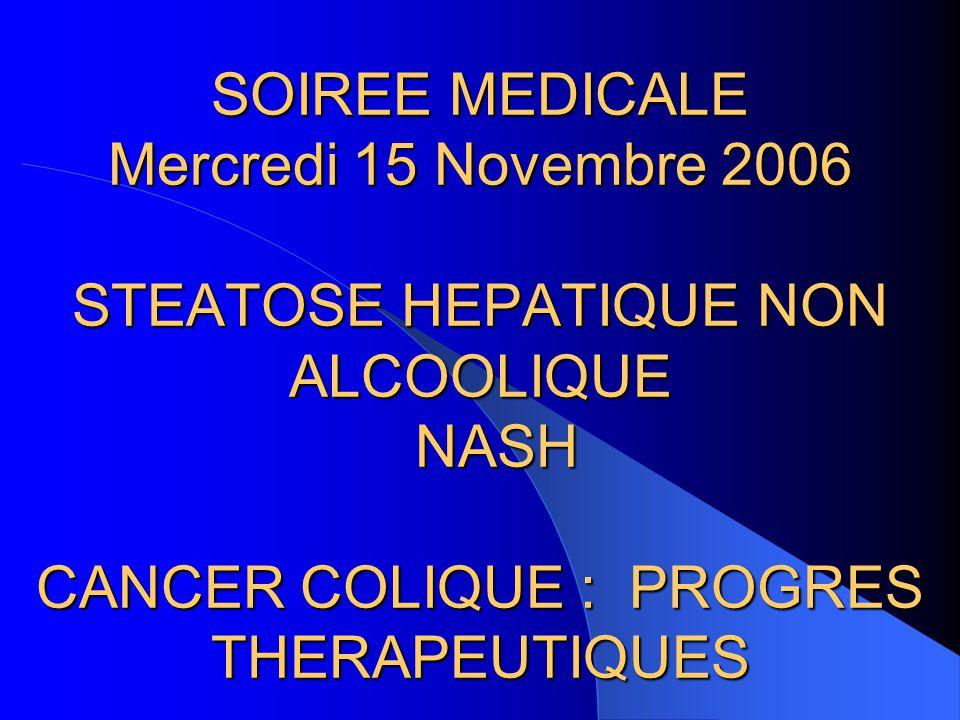 SOIREE MEDICALE Mercredi 15 Novembre 2006 STEATOSE HEPATIQUE NON ALCOOLIQUE NASH CANCER COLIQUE : PROGRES THERAPEUTIQUES