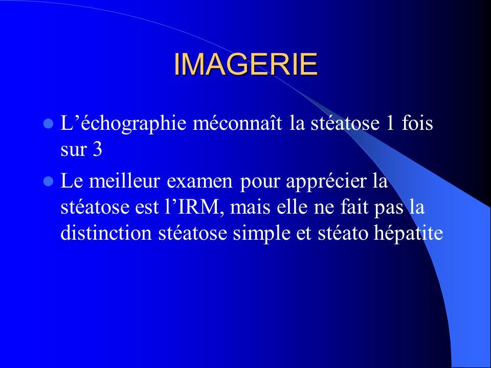 IMAGERIE L'échographie méconnaît la stéatose 1 fois sur 3 Le meilleur examen pour apprécier la stéatose est l'IRM, mais elle ne fait pas la distinctio