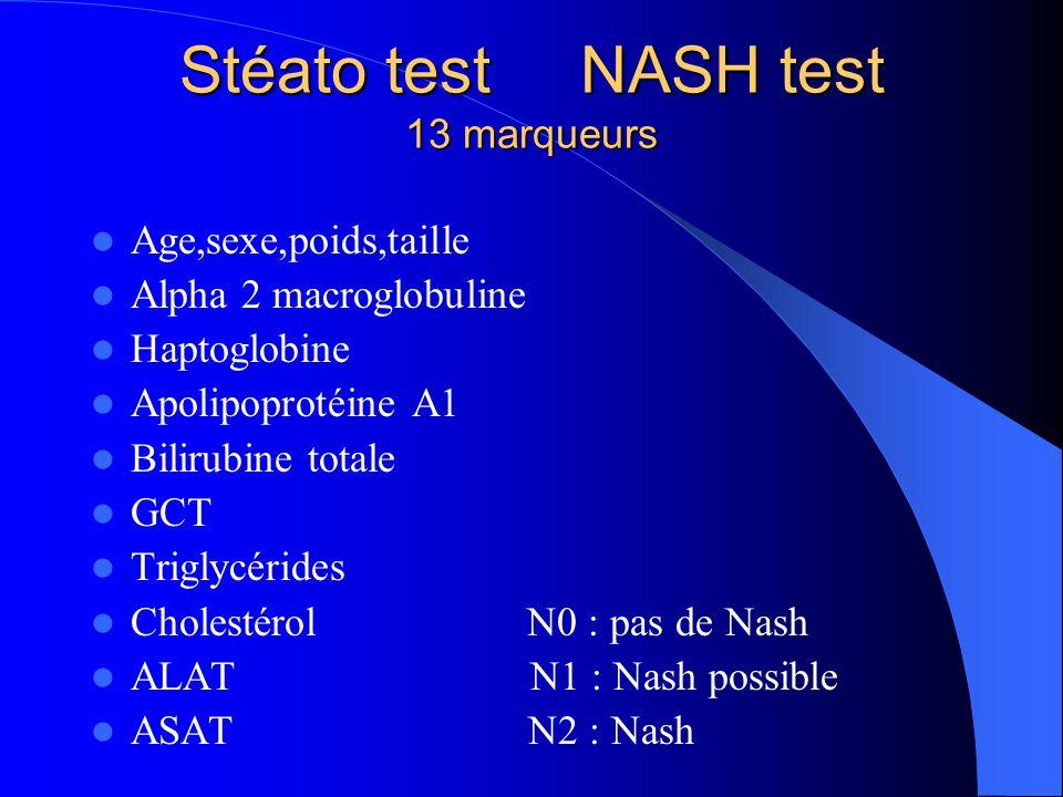 Stéato test NASH test 13 marqueurs Age,sexe,poids,taille Alpha 2 macroglobuline Haptoglobine Apolipoprotéine A1 Bilirubine totale GCT Triglycérides Ch