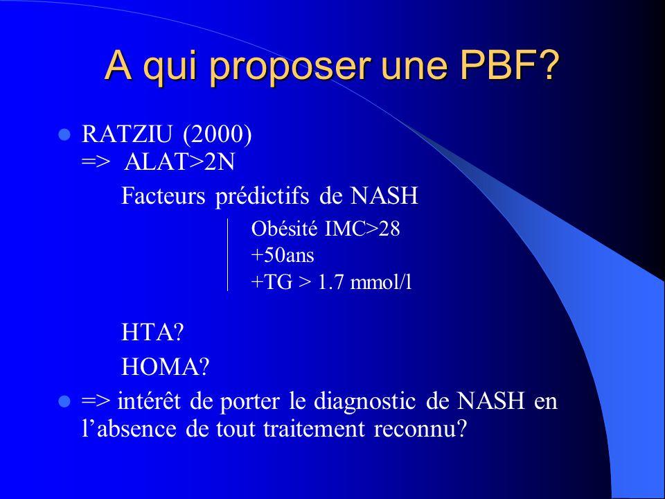 A qui proposer une PBF? RATZIU (2000) => ALAT>2N Facteurs prédictifs de NASH HTA? HOMA? => intérêt de porter le diagnostic de NASH en l'absence de tou