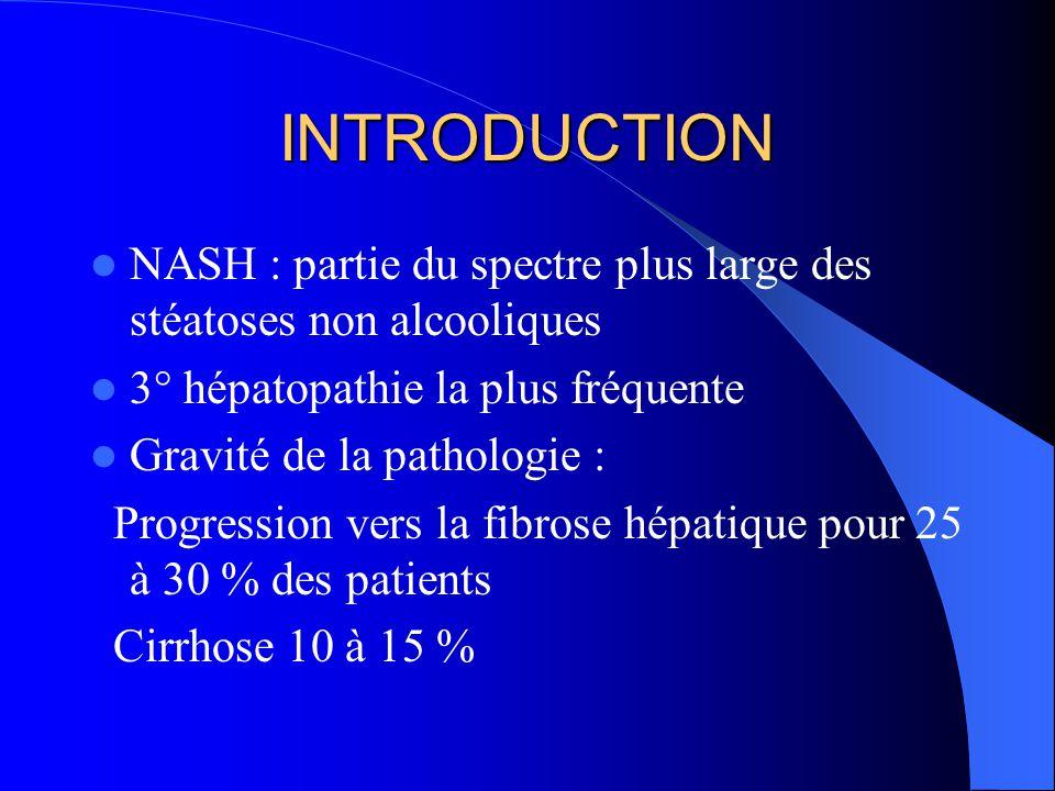 INTRODUCTION NASH : partie du spectre plus large des stéatoses non alcooliques 3° hépatopathie la plus fréquente Gravité de la pathologie : Progressio