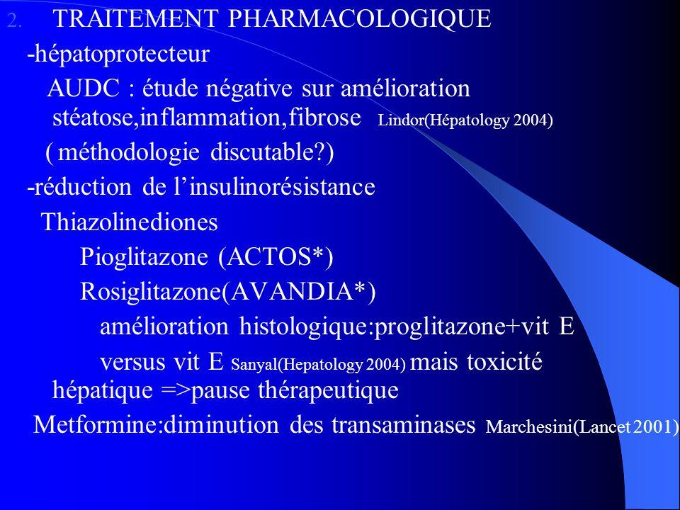 1. L 2. TRAITEMENT PHARMACOLOGIQUE -hépatoprotecteur AUDC : étude négative sur amélioration stéatose,inflammation,fibrose Lindor(Hépatology 2004) ( mé