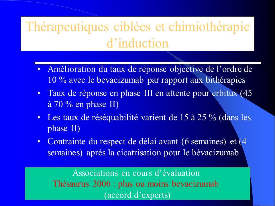 Thérapeutiques ciblées et chimiothérapie d'induction Amélioration du taux de réponse objective de l'ordre de 10 % avec le bevacizumab par rapport aux