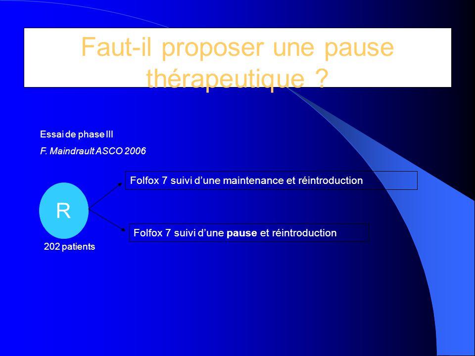 Faut-il proposer une pause thérapeutique ? Essai optimox 2 R Folfox 7 suivi d'une maintenance et réintroduction Folfox 7 suivi d'une pause et réintrod