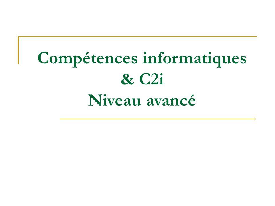Certificat Informatique et Internet Valeur professionnelle Deux niveaux de C2i  Niveau 1 : tout étudiant  Niveau 2 : orientation professionnelle (droit, enseignement, santé, environnement durable...) http://c2i.education.fr