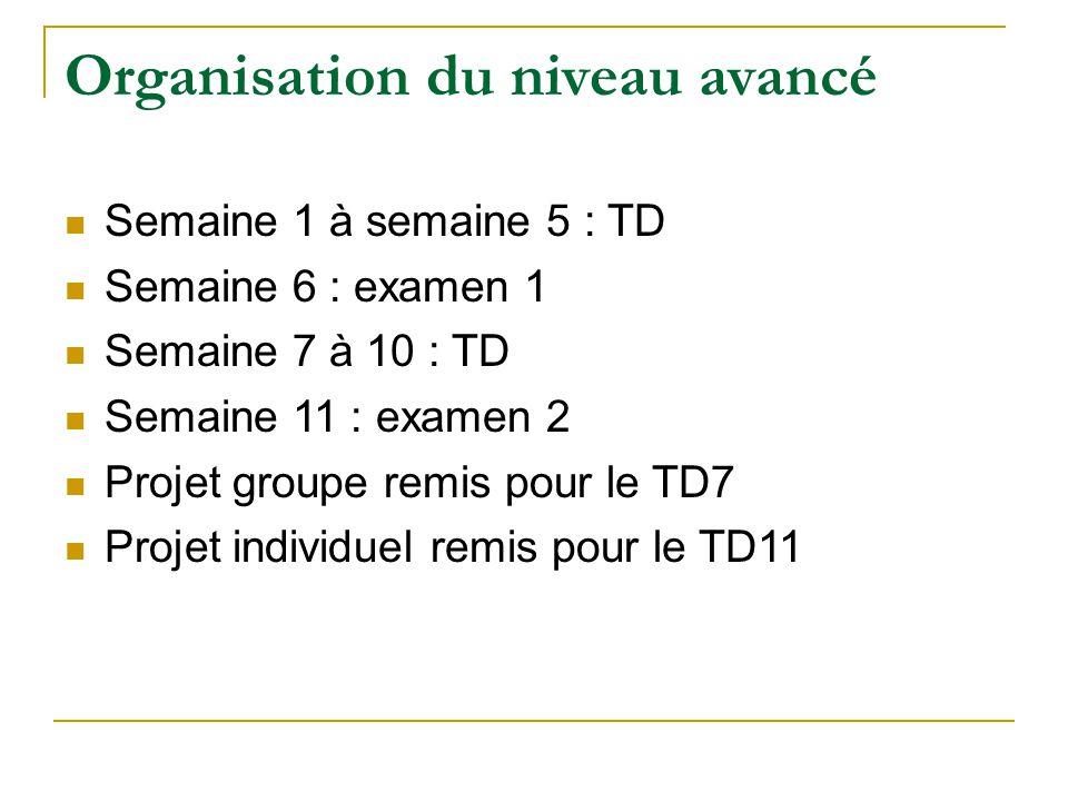 Organisation du niveau avancé Semaine 1 à semaine 5 : TD Semaine 6 : examen 1 Semaine 7 à 10 : TD Semaine 11 : examen 2 Projet groupe remis pour le TD