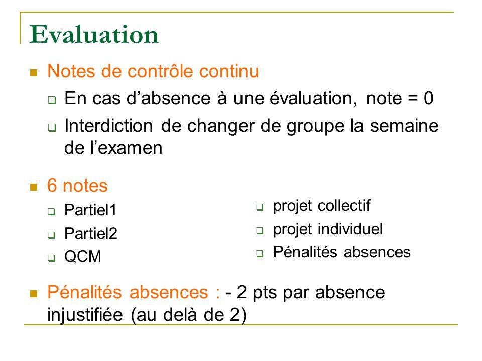 Evaluation Notes de contrôle continu  En cas d'absence à une évaluation, note = 0  Interdiction de changer de groupe la semaine de l'examen 6 notes