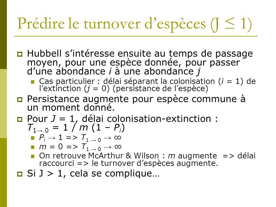 Prédire le turnover d'espèces (J ≤ 1)  Hubbell s'intéresse ensuite au temps de passage moyen, pour une espèce donnée, pour passer d'une abondance i à