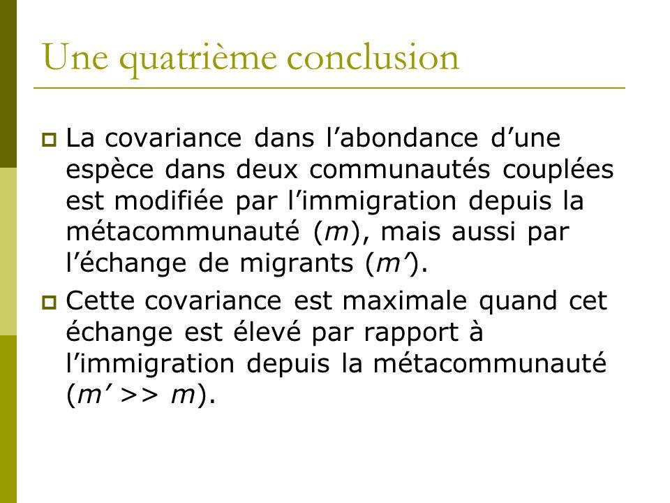 Une quatrième conclusion  La covariance dans l'abondance d'une espèce dans deux communautés couplées est modifiée par l'immigration depuis la métacom