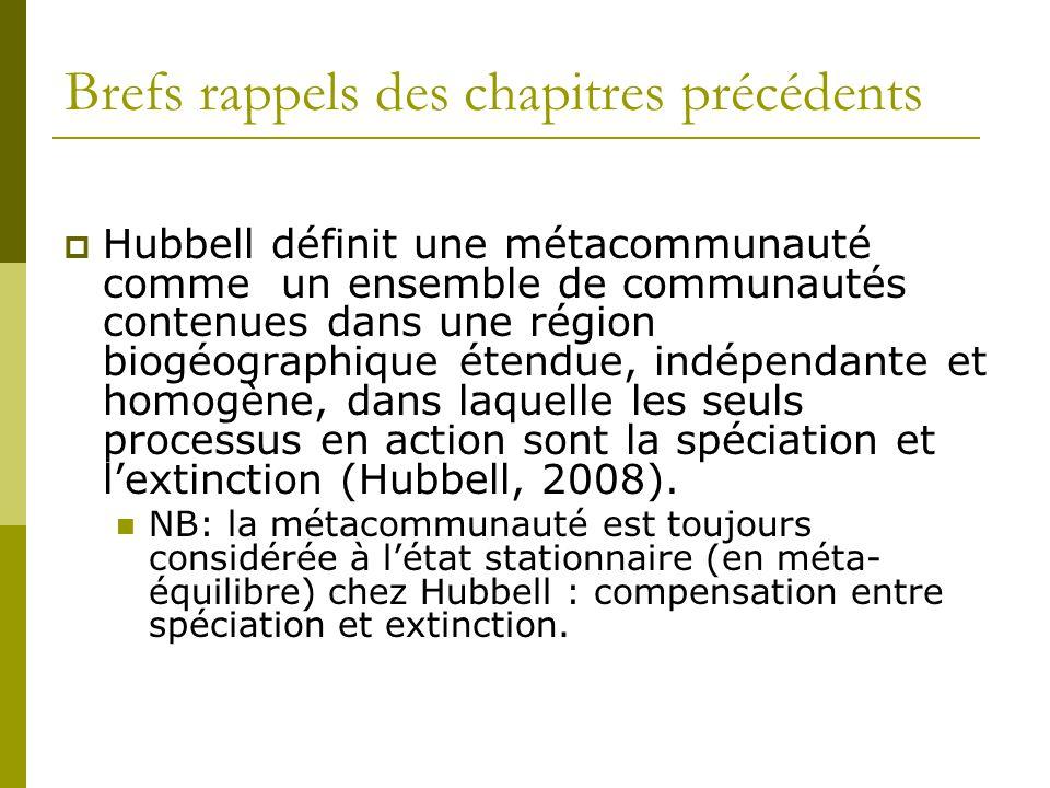 Brefs rappels des chapitres précédents  Hubbell définit une métacommunauté comme un ensemble de communautés contenues dans une région biogéographique