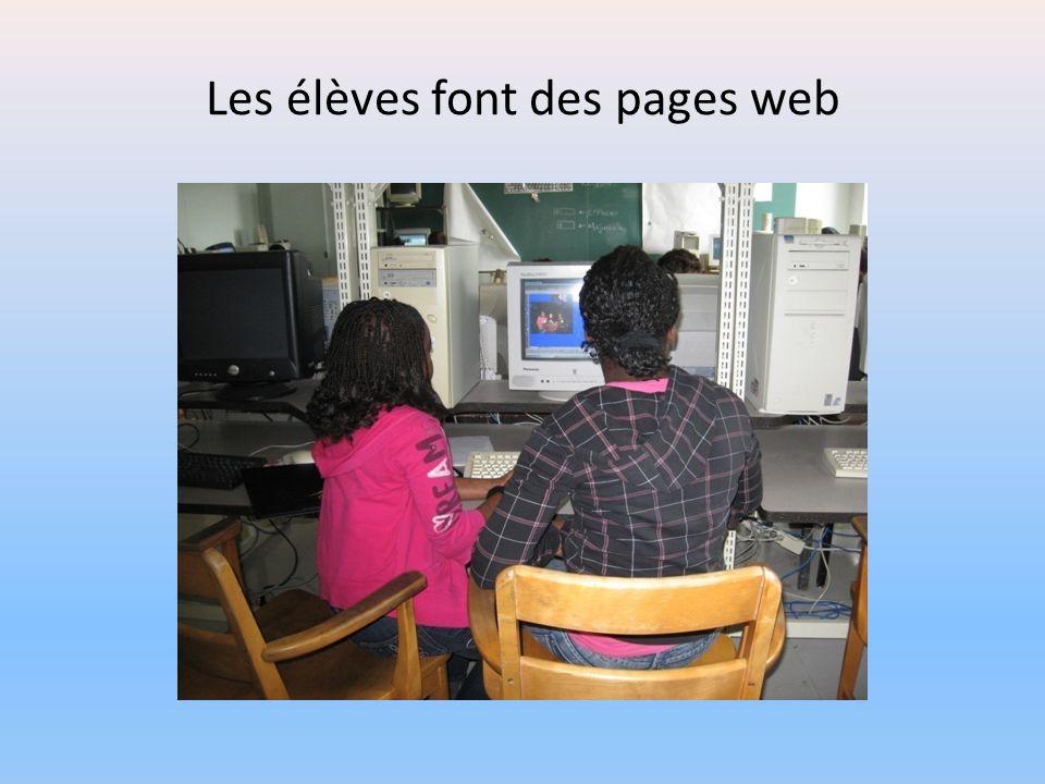 Les élèves font des pages web