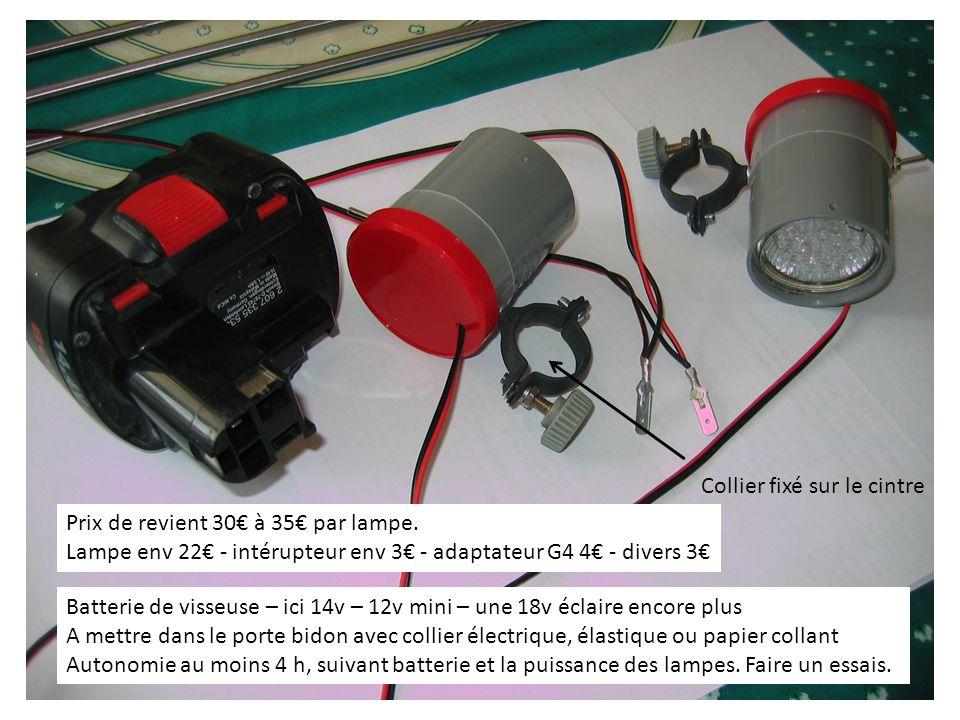 Batterie de visseuse – ici 14v – 12v mini – une 18v éclaire encore plus A mettre dans le porte bidon avec collier électrique, élastique ou papier collant Autonomie au moins 4 h, suivant batterie et la puissance des lampes.