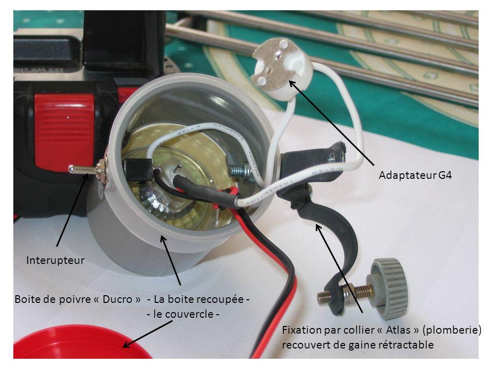 Adaptateur G4 Interupteur Fixation par collier « Atlas » (plomberie) recouvert de gaine rétractable Boite de poivre « Ducro » - La boite recoupée - - le couvercle -