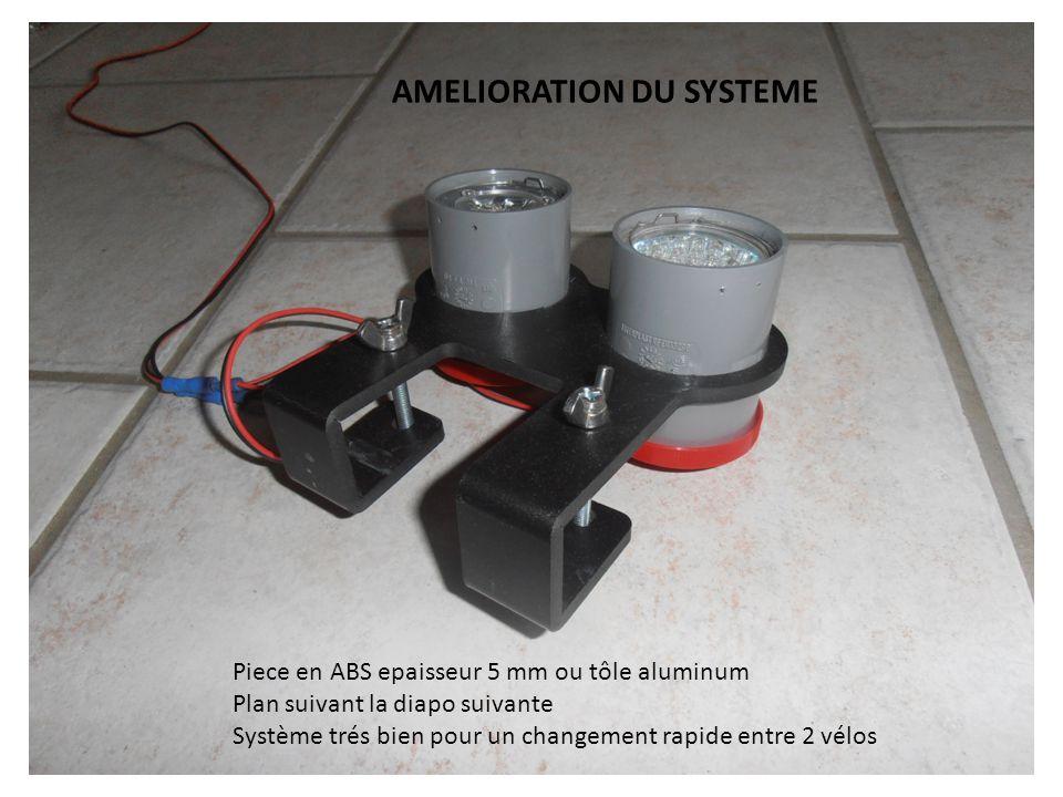 Piece en ABS epaisseur 5 mm ou tôle aluminum Plan suivant la diapo suivante Système trés bien pour un changement rapide entre 2 vélos AMELIORATION DU