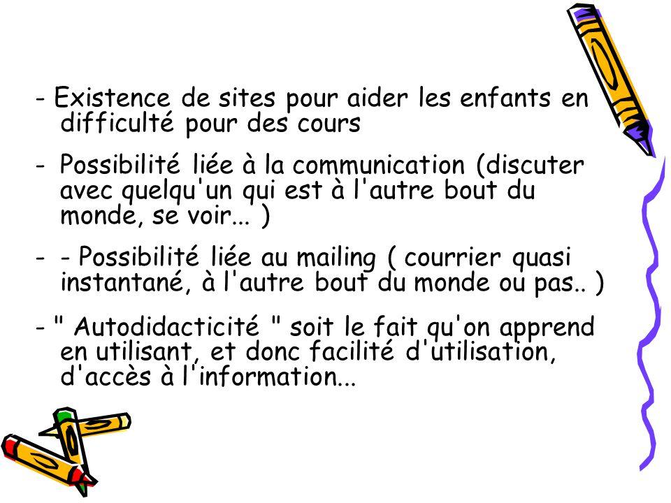 - Existence de sites pour aider les enfants en difficulté pour des cours -Possibilité liée à la communication (discuter avec quelqu'un qui est à l'aut