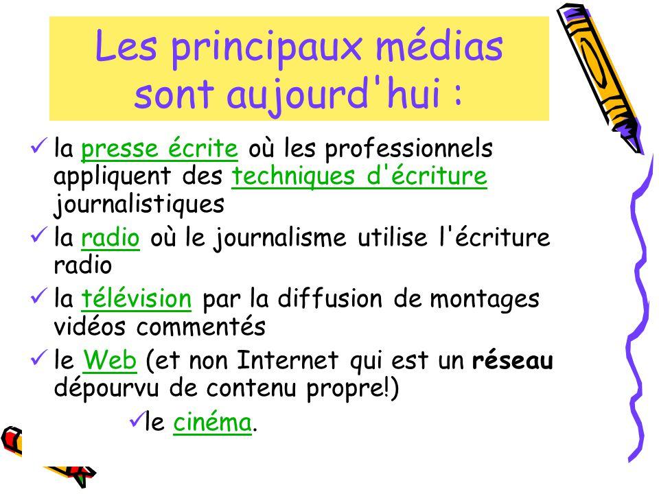 Les principaux médias sont aujourd'hui : la presse écrite où les professionnels appliquent des techniques d'écriture journalistiquespresse écritetechn