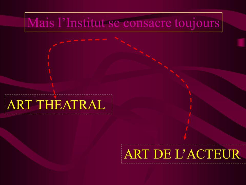 Mais l'Institut se consacre toujours ART THEATRAL ART DE L'ACTEUR