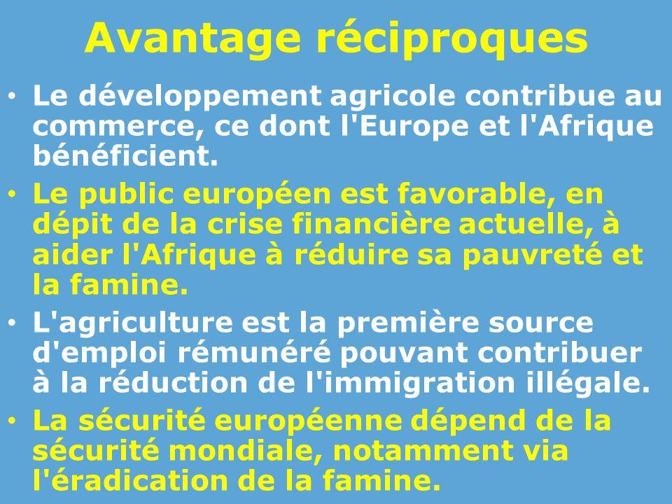Avantage réciproques Le développement agricole contribue au commerce, ce dont l Europe et l Afrique bénéficient.