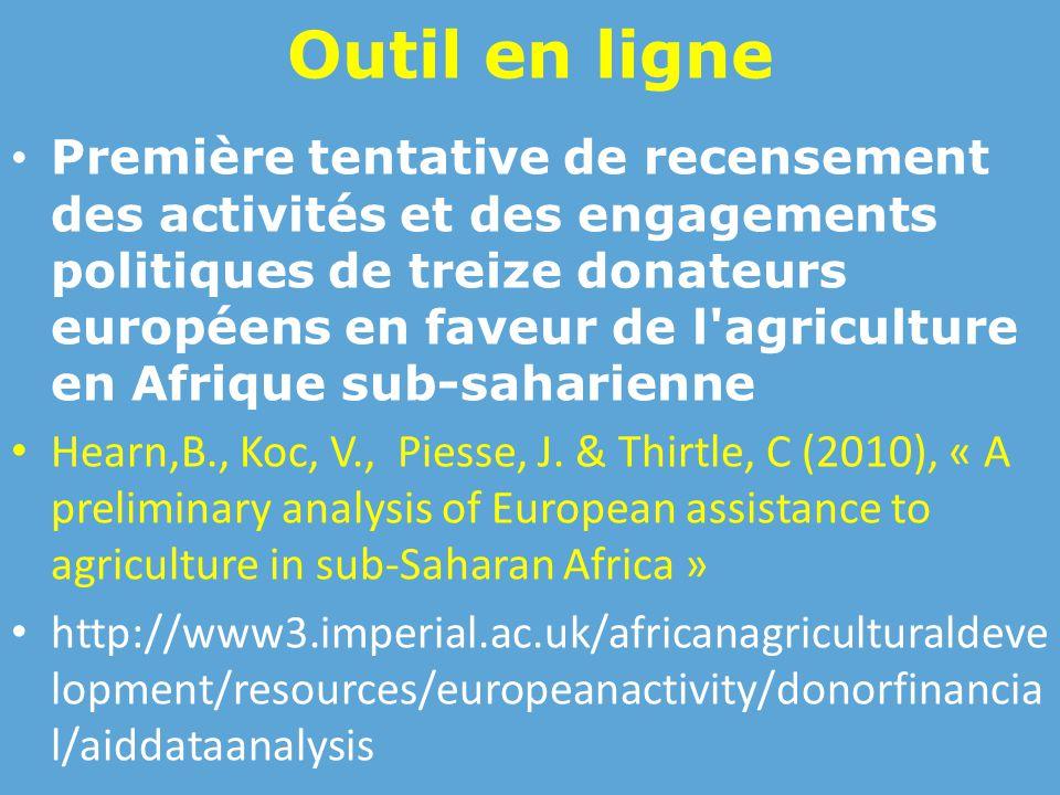 Outil en ligne Première tentative de recensement des activités et des engagements politiques de treize donateurs européens en faveur de l agriculture en Afrique sub-saharienne Hearn,B., Koc, V., Piesse, J.