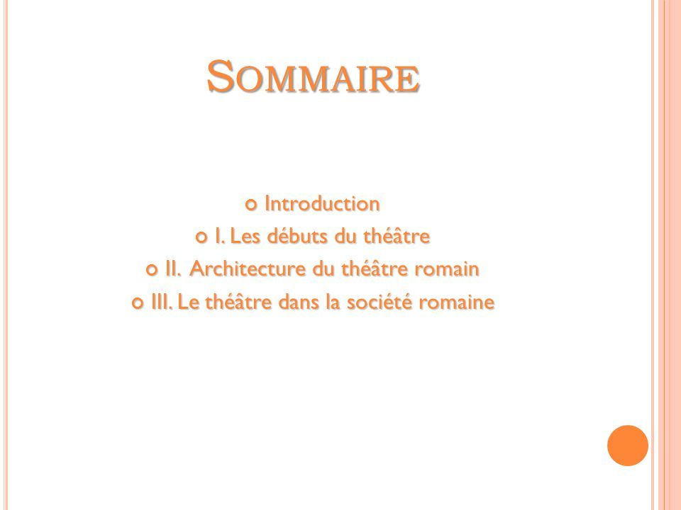 S OMMAIRE Introduction I.Les débuts du théâtre II.