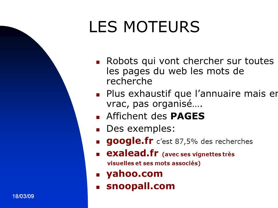 18/03/096 LES MOTEURS Robots qui vont chercher sur toutes les pages du web les mots de recherche Plus exhaustif que l'annuaire mais en vrac, pas organ