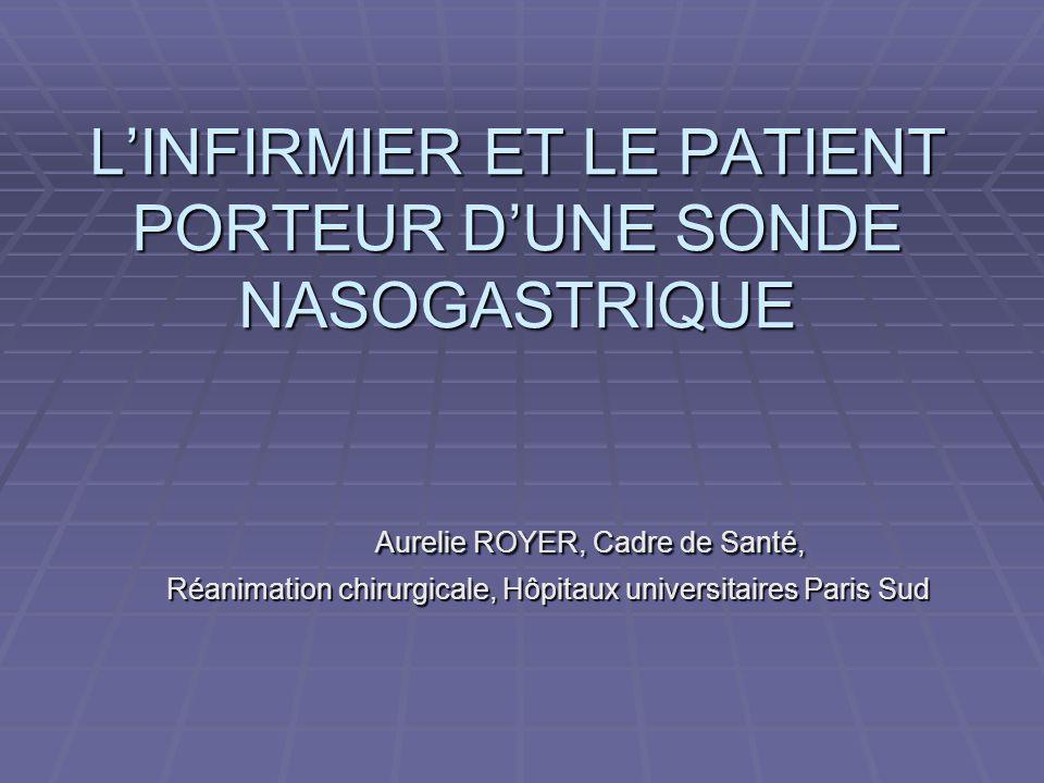 L'INFIRMIER ET LE PATIENT PORTEUR D'UNE SONDE NASOGASTRIQUE Aurelie ROYER, Cadre de Santé, Réanimation chirurgicale, Hôpitaux universitaires Paris Sud