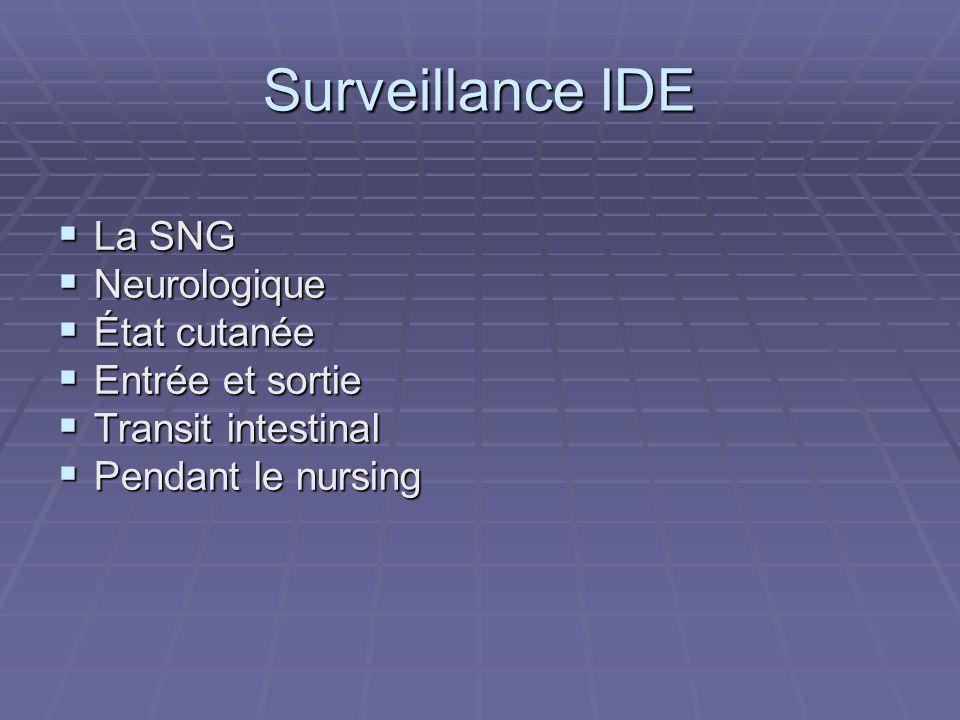 Surveillance IDE  La SNG  Neurologique  État cutanée  Entrée et sortie  Transit intestinal  Pendant le nursing