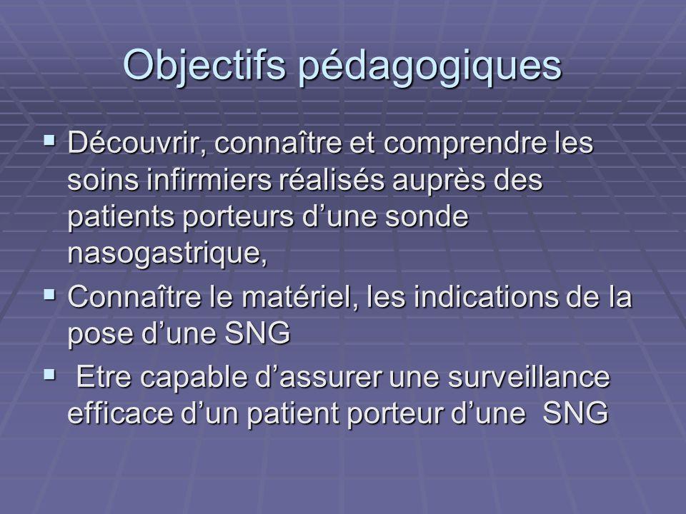 Objectifs pédagogiques  Découvrir, connaître et comprendre les soins infirmiers réalisés auprès des patients porteurs d'une sonde nasogastrique,  Co