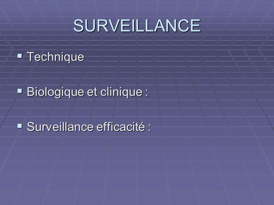 SURVEILLANCE  Technique  Biologique et clinique :  Surveillance efficacité :