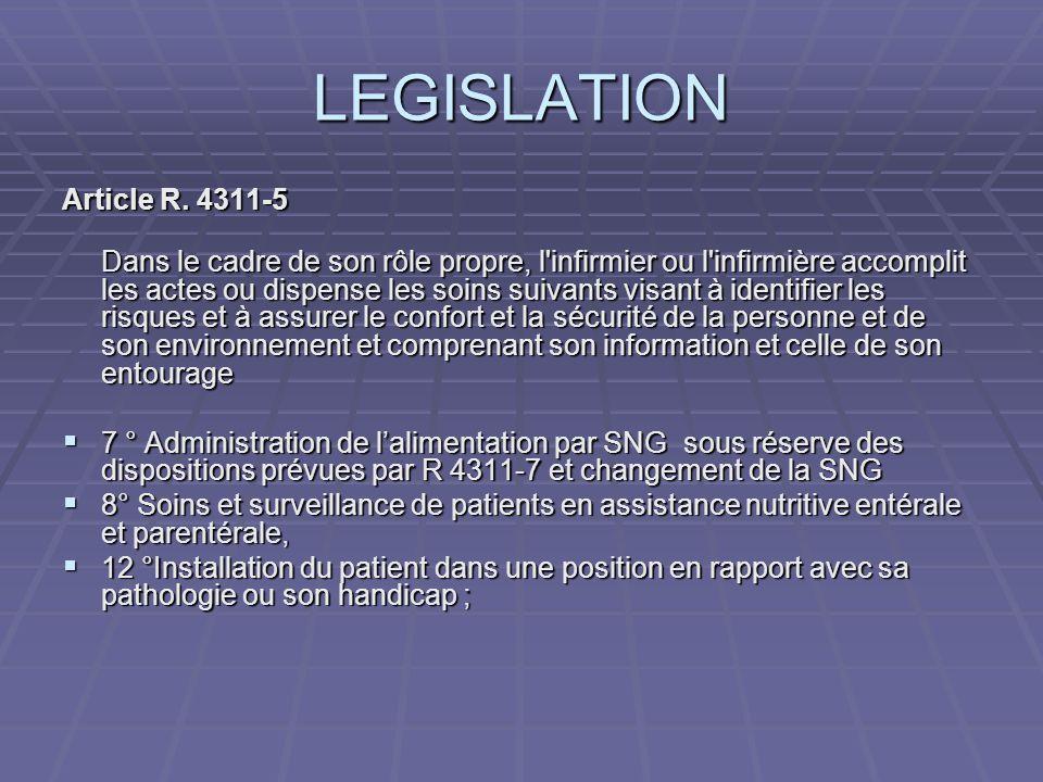 LEGISLATION Article R. 4311-5 Dans le cadre de son rôle propre, l'infirmier ou l'infirmière accomplit les actes ou dispense les soins suivants visant