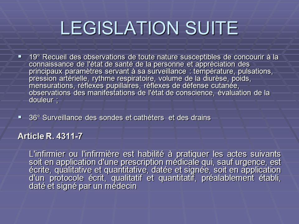 LEGISLATION SUITE  19° Recueil des observations de toute nature susceptibles de concourir à la connaissance de l'état de santé de la personne et appr