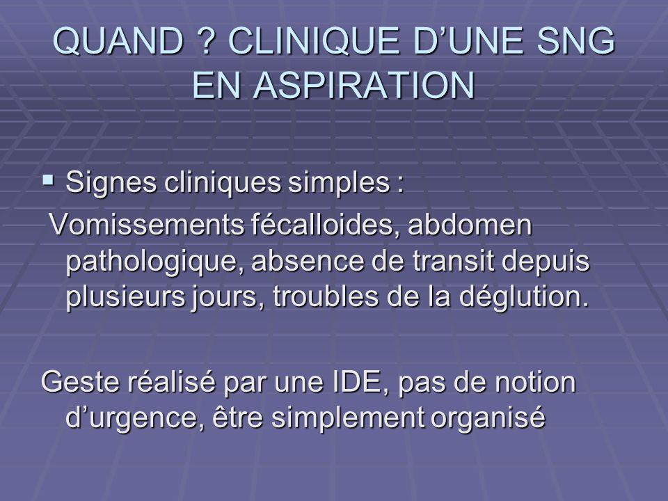 PRINCIPE DE LA SNG  Permet l'évacuation de l'excès de liquide gastrique (occlusions)  Evite les inhalations  Met le tube digestif au repos lors d'une intervention chirurgicale.