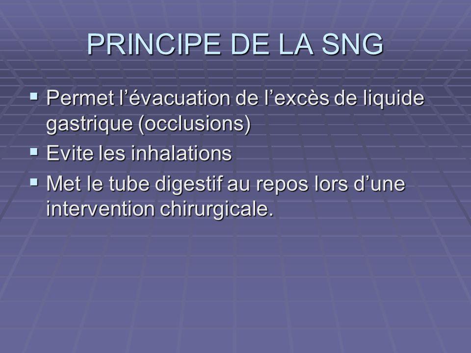 PRINCIPE DE LA SNG  Permet l'évacuation de l'excès de liquide gastrique (occlusions)  Evite les inhalations  Met le tube digestif au repos lors d'u