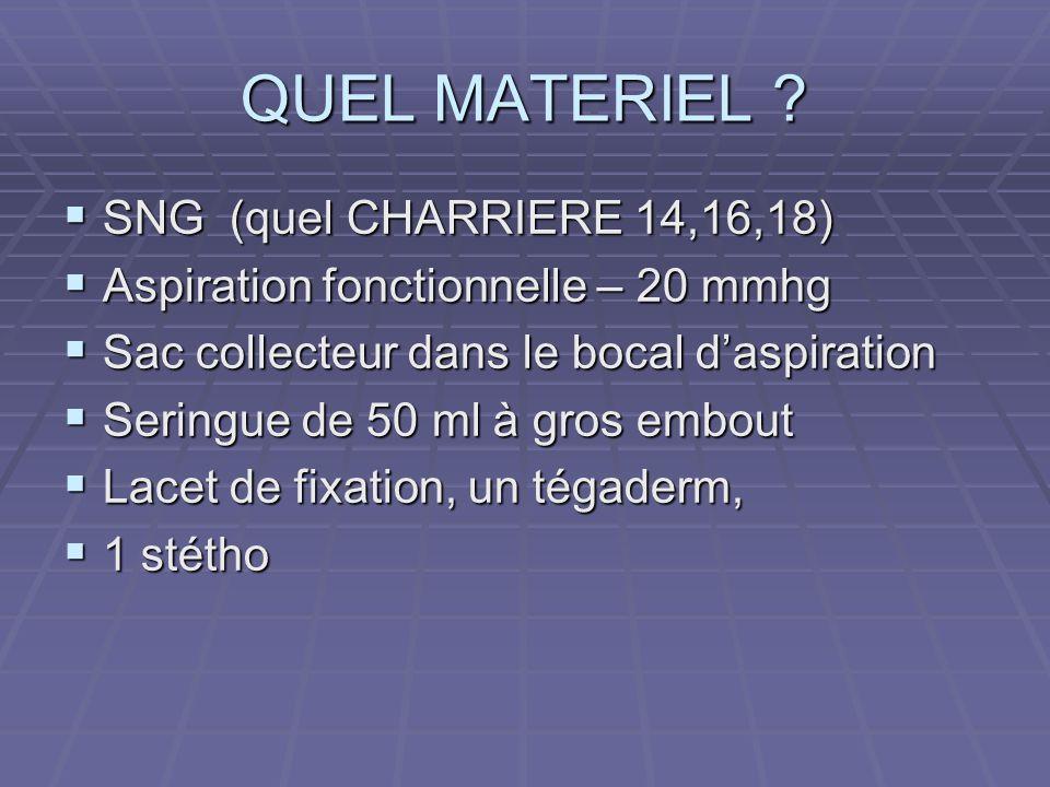 QUEL MATERIEL ?  SNG (quel CHARRIERE 14,16,18)  Aspiration fonctionnelle – 20 mmhg  Sac collecteur dans le bocal d'aspiration  Seringue de 50 ml à