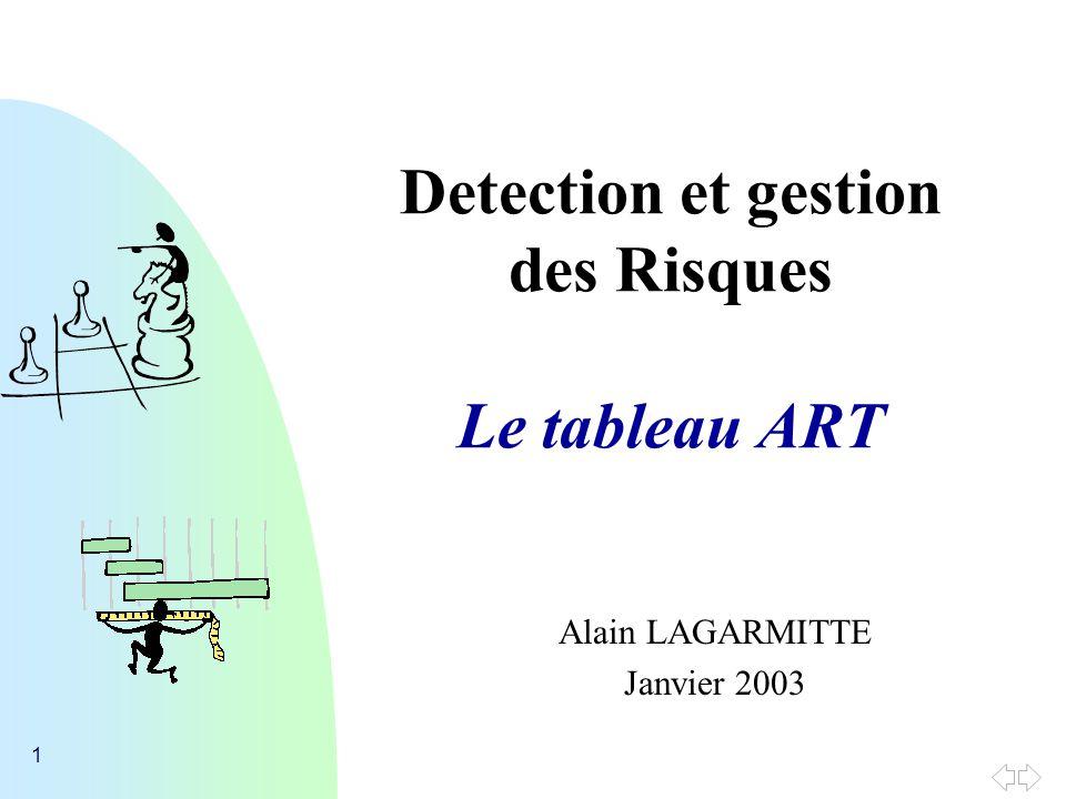 1 Detection et gestion des Risques Le tableau ART Alain LAGARMITTE Janvier 2003