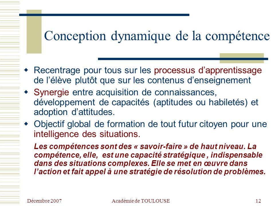 Décembre 2007 Académie de TOULOUSE11 Les compétences : points forts partagés  Mobilisation d'un ensemble de ressources diversifiées : internes (conna