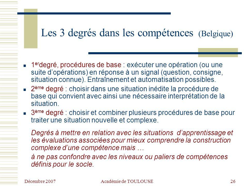 Décembre 2007 Académie de TOULOUSE25 Les 3 étapes dans un apprentissage Articulation de 3 moments didactiques : - Une phase de construction des appren