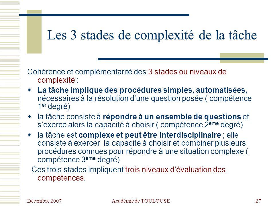 Décembre 2007 Académie de TOULOUSE26 Les 3 degrés dans les compétences (Belgique) 1 er degré, procédures de base : exécuter une opération (ou une suit