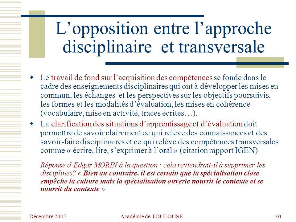Décembre 2007Académie de TOULOUSE 29 Points de débat Comment traiter les objections ? Quels éléments argumentaires mutualiser pour faire bouger les re