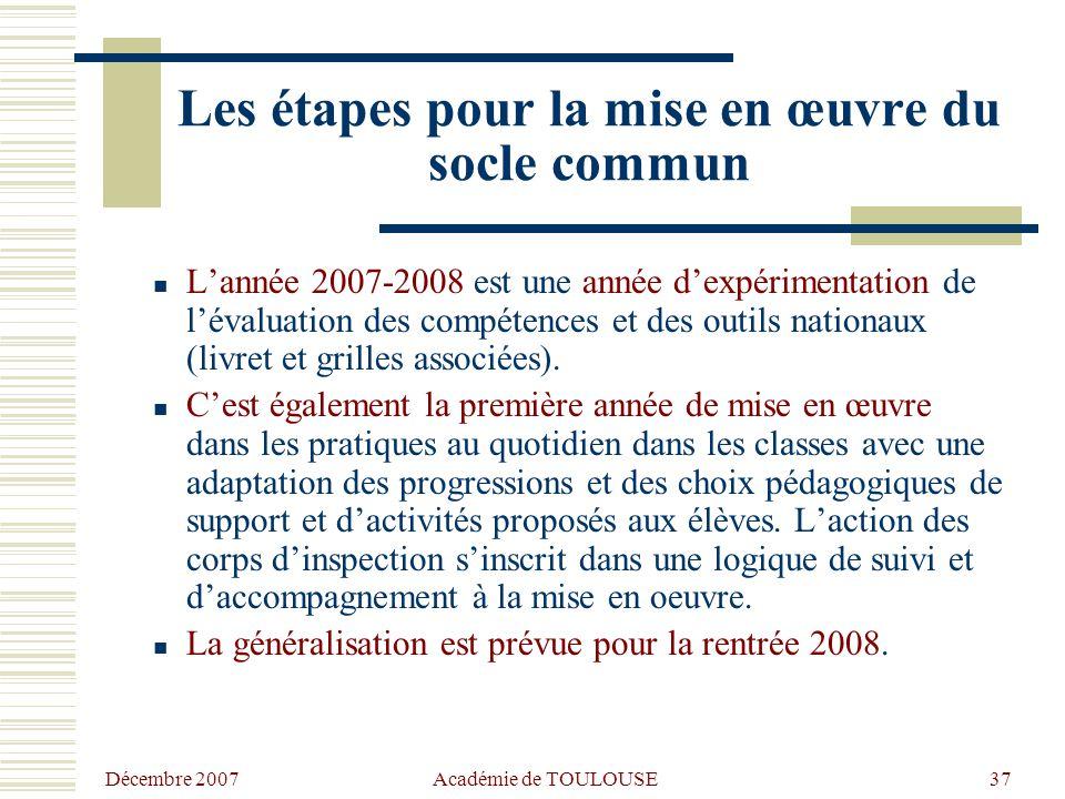 Décembre 2007Académie de TOULOUSE 36 SOCLE COMMUN  Les supports nationaux recensés sur Eduscol avec en particulier les grilles de référence pour l'év