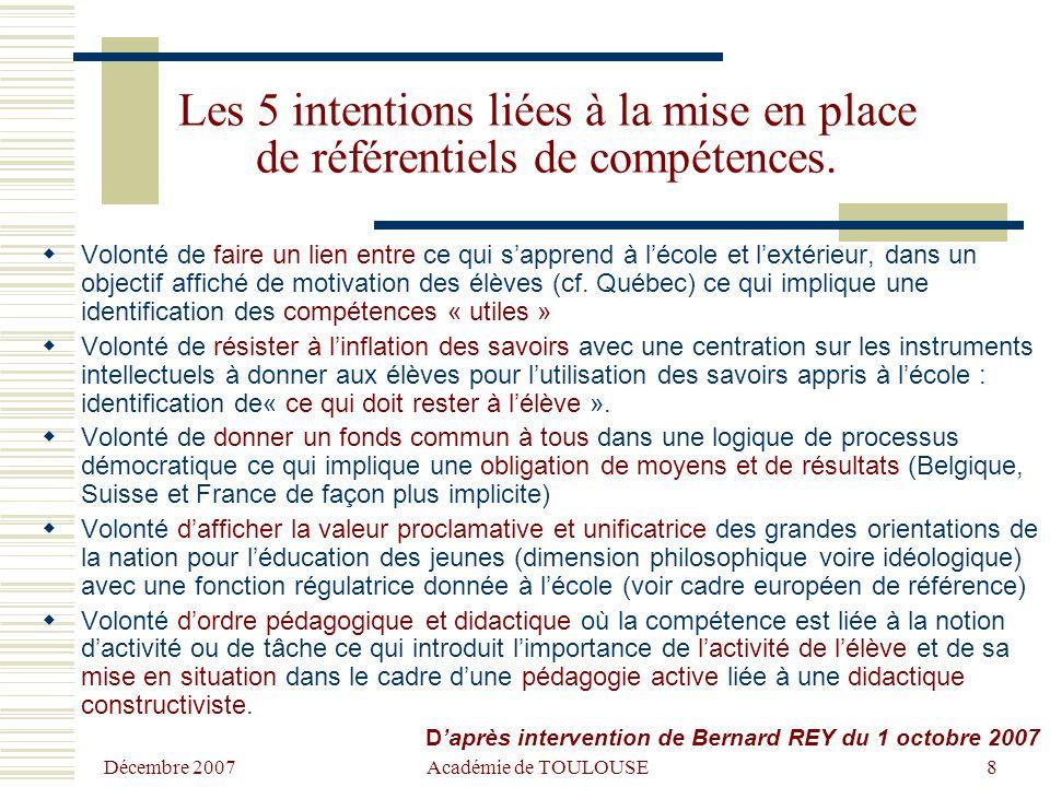 Décembre 2007 Académie de TOULOUSE8 Les 5 intentions liées à la mise en place de référentiels de compétences.